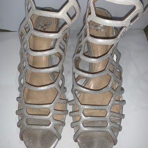 Vince Camuto silver sparkly heels